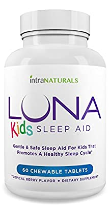 LUNA Kids (60 Tabs) - #1 Natural Sleep Aid for Children 4+ and Sensitive Adults - Herbal, Gentle & Safe Sleeping Pill (Made with Melatonin, Valerian, Chamomile, Lemon Balm & More) - Lifetime Guarantee