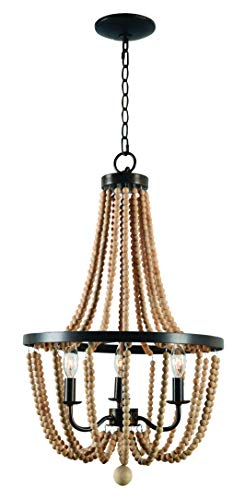 Kenroy Home Regas 3 Lt Wood Bead Chandelier, Golden Bronze Finish