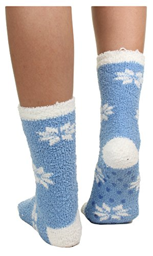 Gilbin 6 Pack Super Soft Toasty Fuzzy Snowflake Holiday Socks, Anti Grip Socks, Size 9-11 by Gilbin (Image #1)