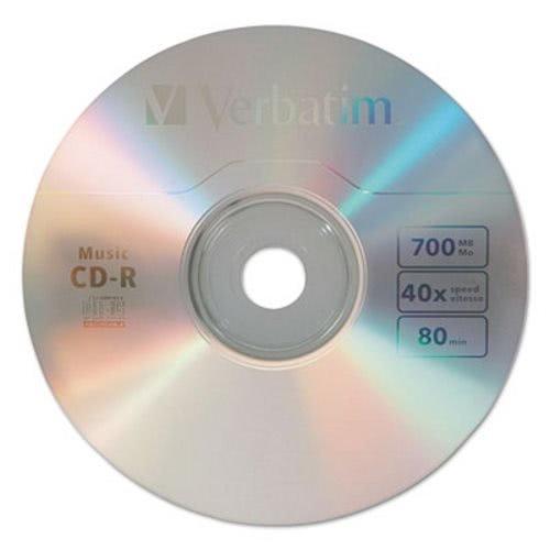 Verbatim CD-R Music Recordable Disc, 700MB, 40x, 25/Pk (VER96155)