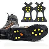 Add-gear Thermoplastic Elastomer and Steel Studs Anti-skid Ice Snow Shoe Spikes Gripper (Black)