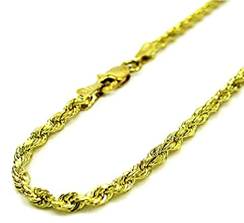 14K Yellow Gold Rope Chain Diamond Cut Chain Pendent Necklace 2.5MM, 18