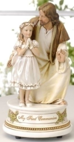 Girl with Jesus First Communion 7 inch Musical Figurine Plays Tune The Lord's Prayer (First Girl Communion)