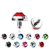 EG GIFTS Dermal Anchor Top Body Jewelry Flat Gem 16g Surgical 3mm,4mm,5mm (Clear 3mm)