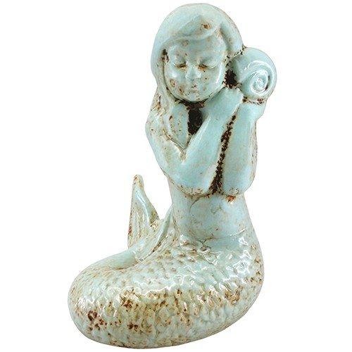 Seashell Statue - Shelly Mermaid Statue AntIque Cyan