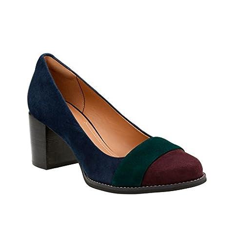 Clarks Women's Tarah Brae Navy Suede Combination Pump 7.5 B (M) - Blue Suede Pump Shoes
