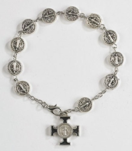 Saint St Benedict Medal Prayer Beads 8 Inch Rosary Bracelet with Maltese Cross Charm - Maltese Cross Medal