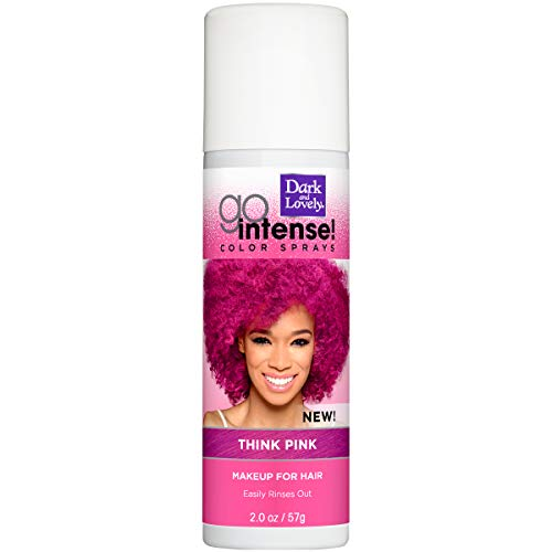 Temporary Hair Color by SoftSheen-Carson Dark and Lovely, Go Intense Color Sprays, Hair Color Spray for Instant and Ultra-vibrant Color even on Dark Hair, For Natural and Relaxed Hair, Think Pink (Dark And Lovely Go Intense Color Spray)