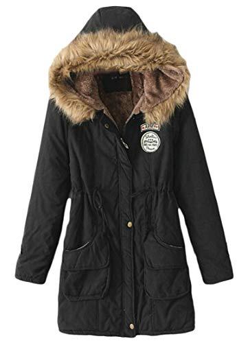 Warm Collar Coat Outwear Hooded Fur Long Parka Women's Black Coat TTYLLMAO Winter gqxHZEwnY