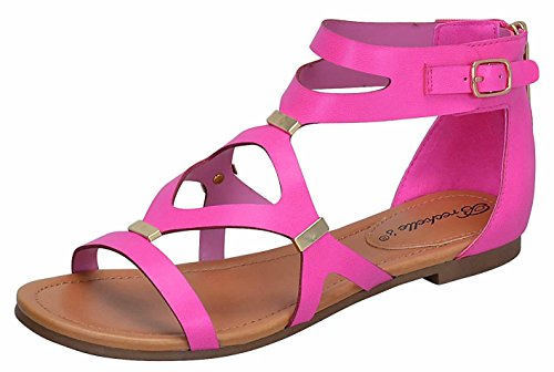 Breckelles Women's Ruby-61 Strappy Synthetic Flats Gladiator Back Zipper Sandals,5.5 B(M) US,Pink