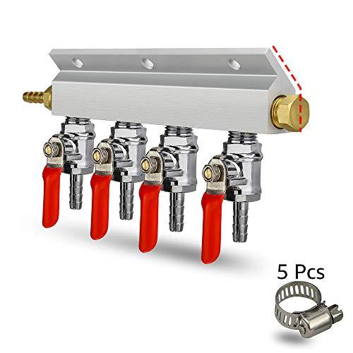 (CO2 Distributor Manifold, Beer Gas Distributor, Air Distributor CO2 Manifold, Co2 Air Manifold, Kegerator Splitter, 4-way Kegerator Distributor Manifold 1/4