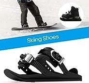1 Pair Ski Shoes Mini Ski Skates for Snow, Adjustable Skiing Sled Snowboard Ski Shoes for Men Women, for Downh