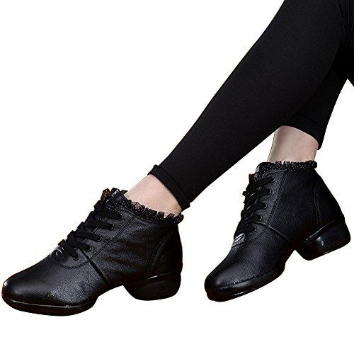 Xmwealthy Womens Split Enda Jazz Häl Dans Sneakers Mjukt Svart Ballroom Skor Svart