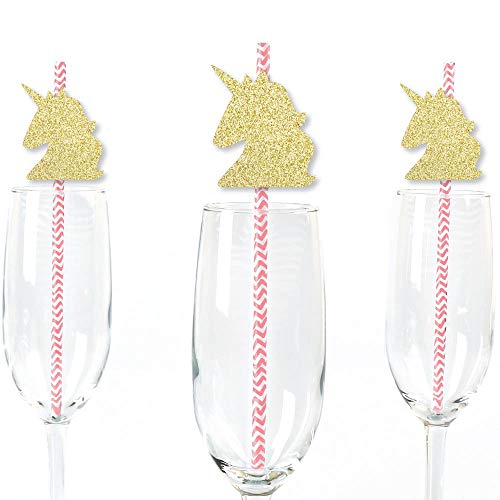 (Gold Glitter Unicorn Party Straws - No-Mess Real Gold Glitter Cut-Outs and Decorative Magical Unicorn Baby Shower or Birthday Party Paper Straws - Set of 24)