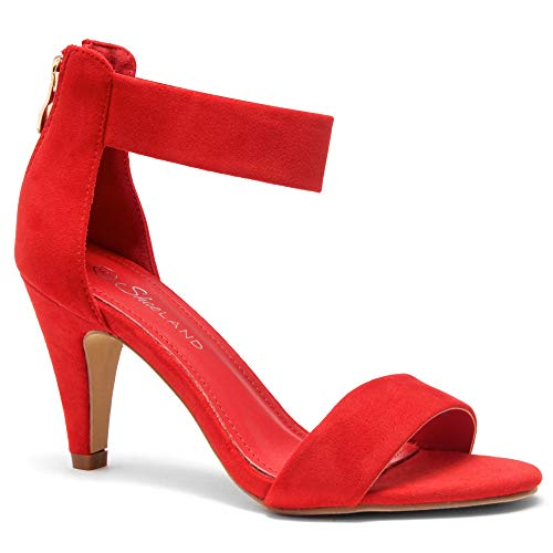 (Herstyle RROSE Women's Open Toe High Heels Dress Wedding Party Elegant Heeled Sandals Red 8.5)