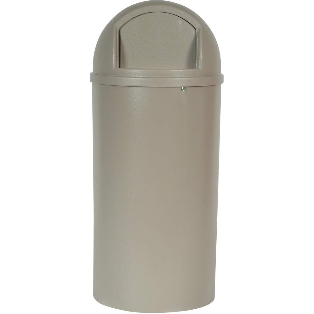 Rubbermaid Commercial Marshall Classic Trash Can, Round, 25 Gallon, Beige, FG817088BEIG