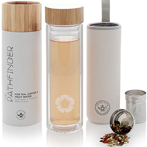 (Teabloom All-Beverage Tumbler – 15 oz / 450 ml – Natural Bamboo and Tempered Glass Travel Bottle – Hot and Cold Tea Infuser – Cold-Brew Coffee – Fruit-Infused Water – Tea Tumbler – The Pathfinder)