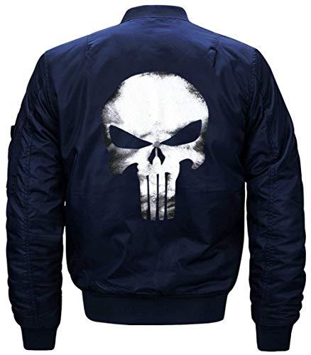 1 De De Manga Hombres Delgado Lino De Chaqueta Jacket De Los Flight Jacket Larga De Blau Vuelo Acolchado Collar Bombardero Chaqueta Chaqueta Modelado Cráneo E6PxqgI