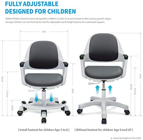 SitRite Ergonomic Kids Desk Chair Children Study Student Computer Home School Office Height Control Easy To Assemble (Cyber Grey, Swivel)