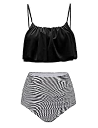 ddac5bde62 Womens High Waisted Bikini Set Flounce Top Two Piece Swimsuit