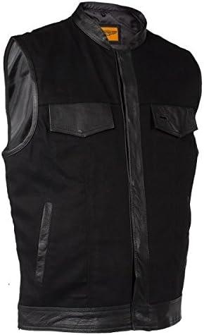 Mens Black Denim Biker Vest With Leather Trim Size L, LG, Large, 44-46