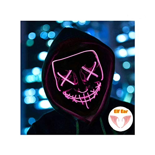 Halloween Mask Light up Mask Cosplay LED Mask Frightening Purge Mask for Festival Cosplay Halloween Parties Costume (Orange)]()
