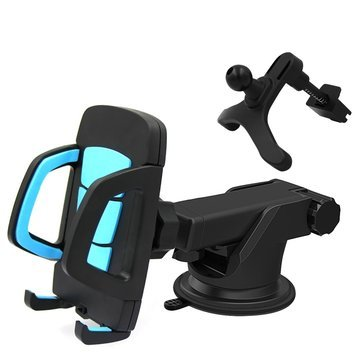 Phone Mount - Cell Phone Holder - Motorcycle Phone Mount - Car Non Slip Pad - 2 in 1 Multifunctional Phone Stand Suction Cup Car Air Vent Holder Bracket for under 6 inches Phone (Blue)