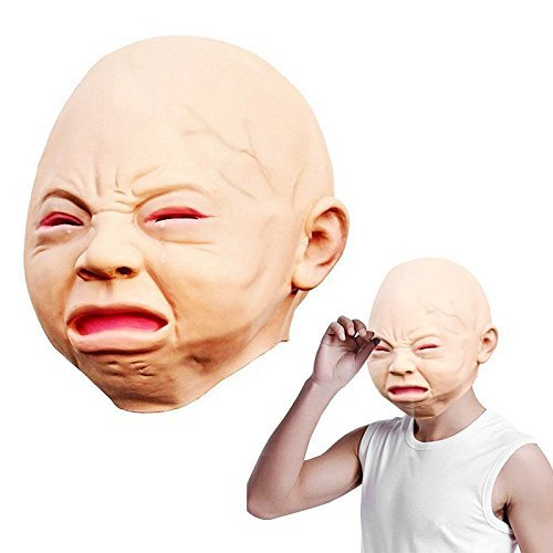 Original Couples Halloween Costumes Funny (ZERVIOE Novelty Halloween Costume Party Latex Head Mask Cry Face)