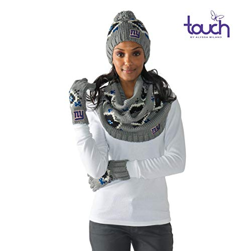 Touch, Sparkle Fairisle Collection By Alyssa Milano, NY Giants 3 Piece Knit Set, (Beanie, Scarf, and Gloves)