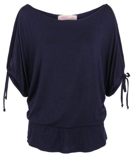 KRISP Womens Split Sleeve Blouse Cold Shoulder Oversized Shirt Summer Top (Navy,12)