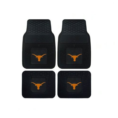 A set of 7 Piece Automotive Gift Set: 2 Front and 2 Rear All Weather Floor Mats , 2 Front Seat Covers, and 1 Wheel Cover - Texas Longhorns by MULTI_B (Image #1)