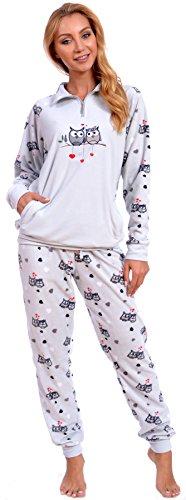 Patricia Women's Pajama Set Polar fleece Zip Up 2PC Loungewear (L, Grey Owl (Band Pajama)