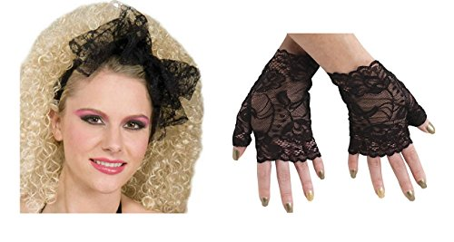 80'S Black Lace Hair Scarf and Gloves Headband Madonna Tie Band Costume Kit