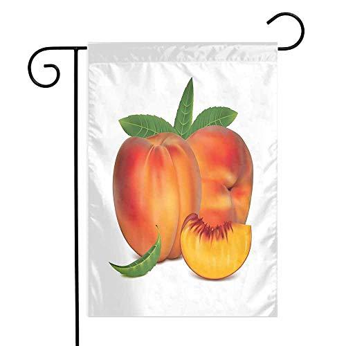 - Mannwarehouse Peach Garden Flag Vivid Juicy Fruit for Vegetarian Diet Slice of a Healthy Vitamin Rich Snack Premium Material W12 x L18 Vermilion Green