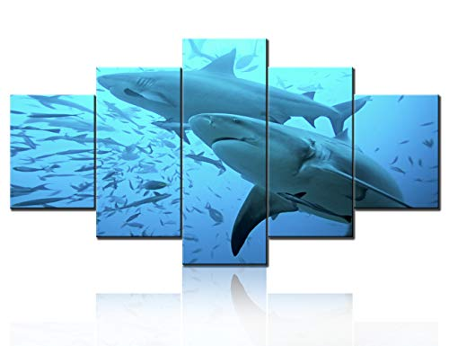 - TUMOVO Living Room Wall Decor Shark with Small Fish in The Deep Wate Pictures Blue Wall Art 5 Panels Printed on Canvas Paintings Seascape Artwork for Home Stretched and Framed Ready to Hang(60