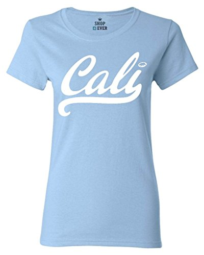 Shop4Ever Cali White Women's T-Shirt California Shirts Medium Light Blue0