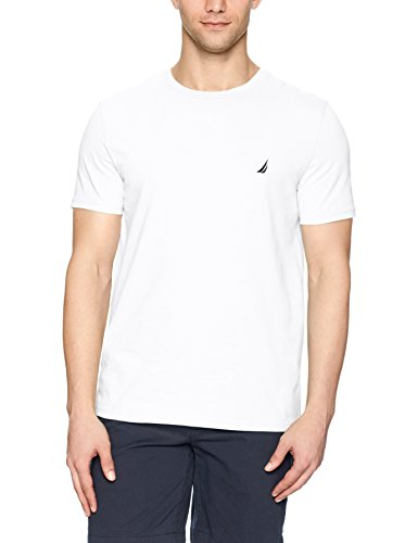 Nautica Men's Short Sleeve Solid Crew Neck T-Shirt, Bright White, Medium