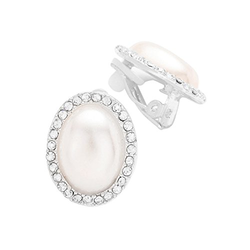 Father Of The Year Halo Costume (Rosemarie Collections Women's Faux Pearl with Rhinestone Trim Clip On Earrings)
