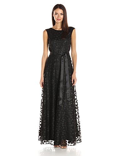 (Tahari by Arthur S. Levine Women's Cap Sleeve Novelty Floret Gown, Black, 6)