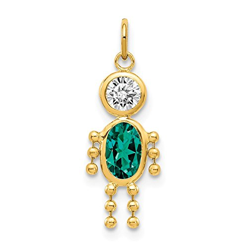 14k Yellow Gold May Boy Birthstone Pendant Charm Necklace Kid Fine Jewelry Gifts For Women For Her