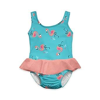 i play. Baby Girls' Skirt Tanksuit with Built-In Absorbent Swim Diaper, Light Aqua Flamingo, 18 Months