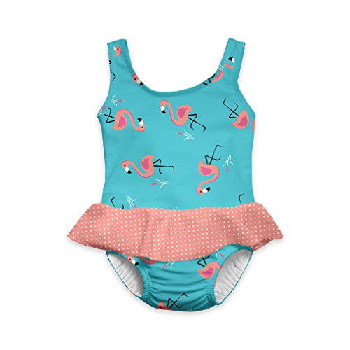 i play. Girls' 1pc Skirty Swimsuit Withbuilt-In Absorbent Swim Diaper, Light Aqua Flamingo, 18mo