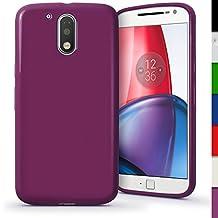 iGadgitz Solid Purple Glossy TPU Gel Skin Case Cover for Motorola Moto G 4th Generation XT1622 (Moto G4) & Moto G4 Plus XT1644 + Screen Protector