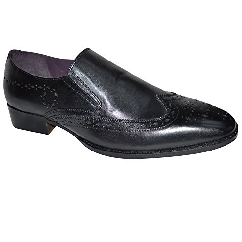 Gucinari Mens 100% Leather Formal Brogue Business Slip On Shoes Black