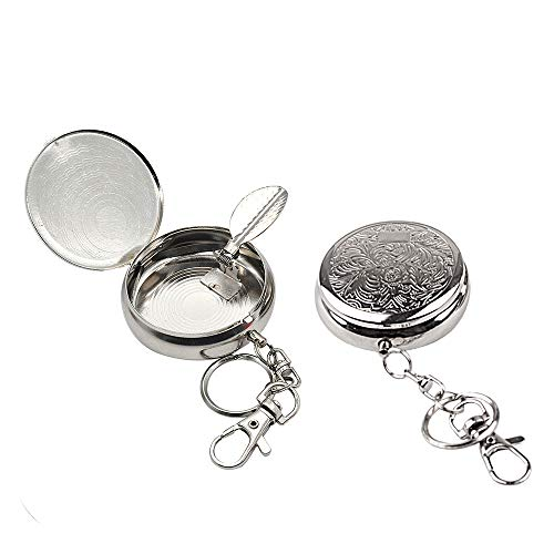 CRIVERS 2pc Portable Pocket Ashtray/Vehicle Cigarette Ashtray, Mini Stainless Steel Ashtray with Key Chain and Cigarette Snuffer, Modern Ash Holder for Outdoor Use (Carved Pattern)
