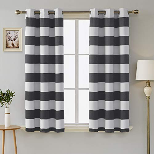 d Blackout Curtain Panels Thermal Insulated Grey and Greyish White Striped Curtains for Bedroom 42W X 54L Gray 2 Panels ()