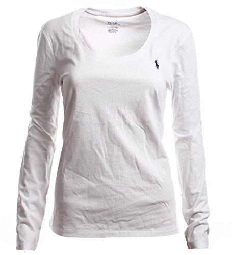 Polo Ralph Lauren Damen Rundhals Langarmshirt Longsleeve Shirt Weiß Größe S