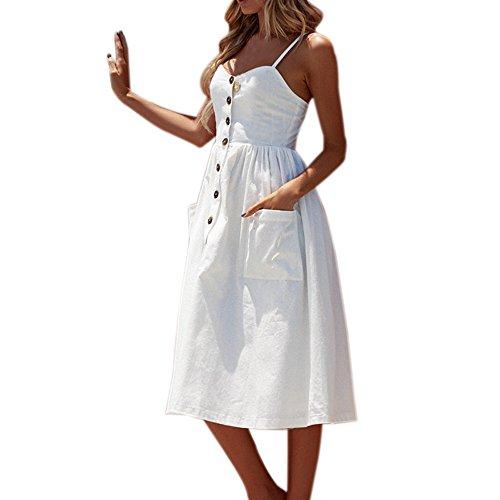 Schleuderkleid Neck Knopf Sommer Women Mittel Sexy EUZeo Kalb Dress Beach Weiß Maxi V wwq0gP