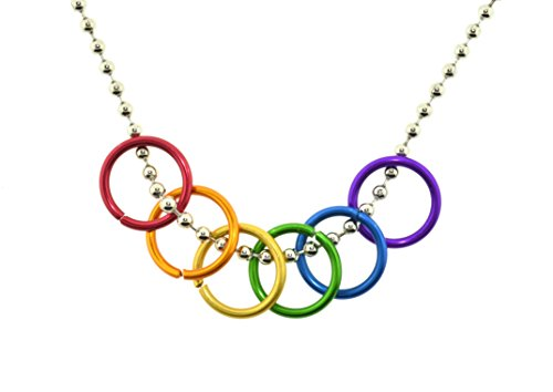 Rainbow Freedom Rings Necklace - Gay & Lesbian LGBT Pride Chain. LGBT Pride - Gay and Lesbian Pendant. One Necklace & Chain for men or women. Rainbow Pride Jewelry -