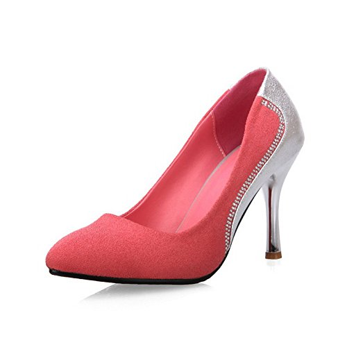 AllhqFashion Assorted High Pumps Heels Closed Toe Shoes Pink On Pull Pointed Womens Color rw6nSCqrf